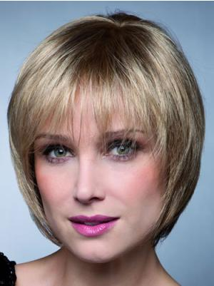 Suitable 8 Inches Straight Capless Blonde Wigs Bob Style
