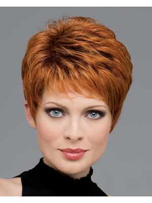Fashionable 4 Inches Wavy Auburn Cropped Wigs