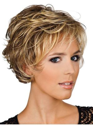 6 Inches Short Wavy Blonde Layered Wigs