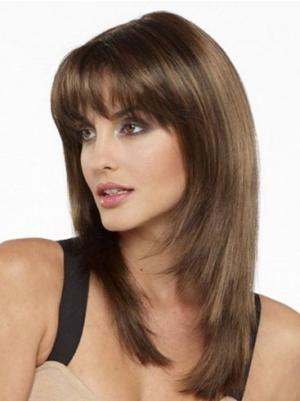 Straight Brown 16 Inches With Bangs Online Wigs