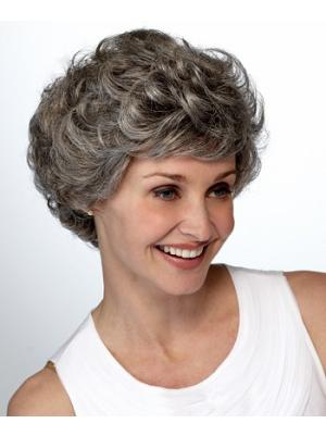 Curly Capless Salt and Pepper Colour Grey Cheap Wigs