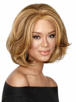 Comfortable 10 Inches Wavy Capless Blonde Cheap Bob Wigs