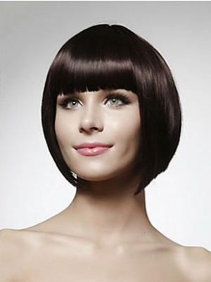 Black 10 Inches Chin Length Straight Capless Bob Cut Wigs