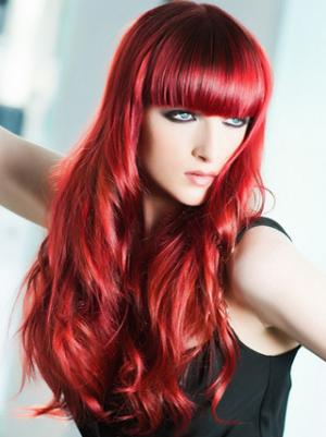 Wavy Capless Red With Bangs Fashionable Wigs