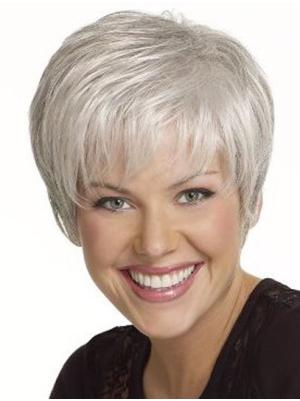 Straight Capless White Grey Beautiful Wigs