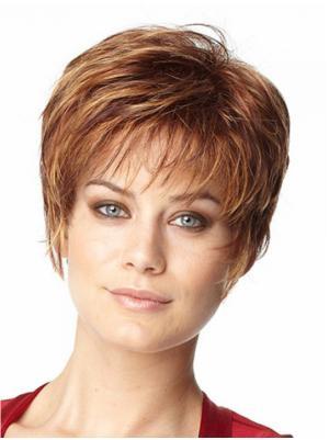 Straight 6 Inches Durable Auburn Short Hair Wigs