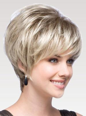 8 Inches Short Straight Blonde Layered Wigs