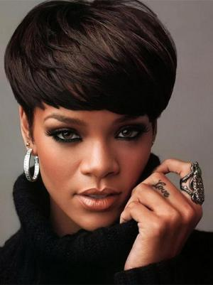 Straight 4 Inches Style Black Short Ladies Wigs