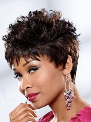Curly 4 Inches Fashionable Brown Short Hairstyles