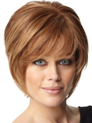 Gorgeous 8 Inches Straight Capless Auburn Wig Bob Style