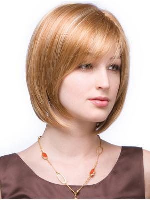 Great 10 Inches Straight Capless Copper Ladies Bob Style Wigs