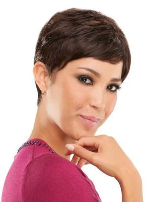 Capless 4 Inches Sleek Straight Short Wigs For Women