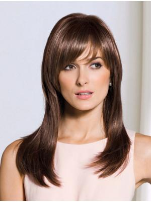 Straight Brown 17 Inches With Bangs Hairstyles Wigs