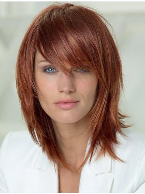 Straight Copper 14 Inches Layered Sleek Wigs
