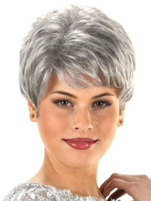 Wavy Capless Salt and Pepper Colour Grey Designed Wigs