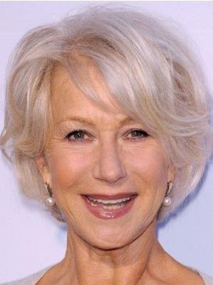 Wavy Short 8 Inches Perfect Synthetic Grey Hair Wig