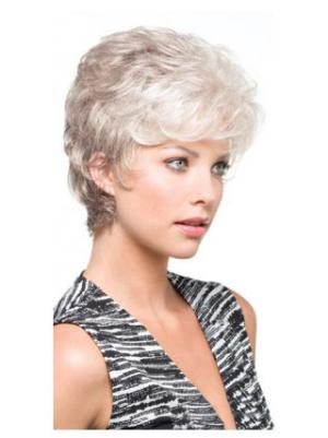 Wavy Short 4 Inches Cheapest Synthetic Womens Grey Wigs