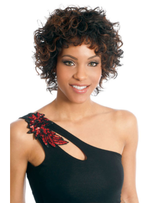 Designed Synthetic Brown Capless 6 Inches Curly Cheap Short Wigs