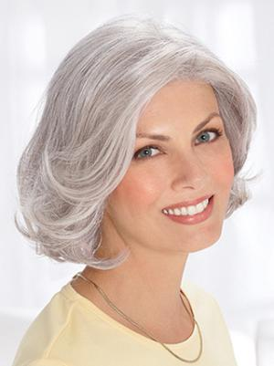 Wavy Chin Length 12 Inches Fashionable Synthetic Grey Ladies Wig