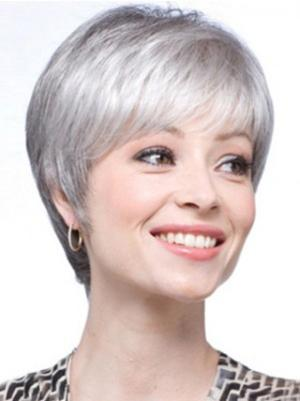 Straight Capless Salt and Pepper Colour Grey Flexibility Wigs