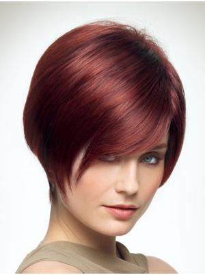 Straight Capless Red With Bangs Convenient Wigs