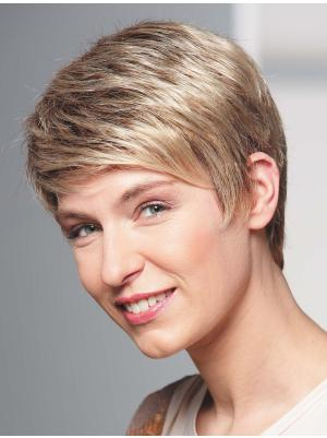 Straight 4 Inches Fabulous Blonde Short Cropped Wigs