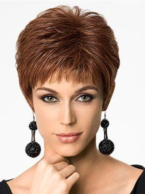 Sassy Synthetic Auburn Capless 6 Inches Straight Boycut Wigs