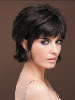 8 Inches Short Straight Synthetic Exquisite Cheap Black Wig