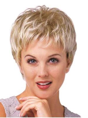 Curly 8 Inches Sleek Blonde Short Cropped Wigs