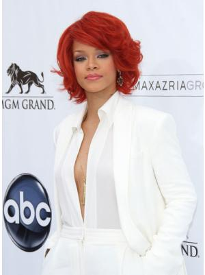 Fashion 10 Inches Wavy Capless Red Wigs Bob Style