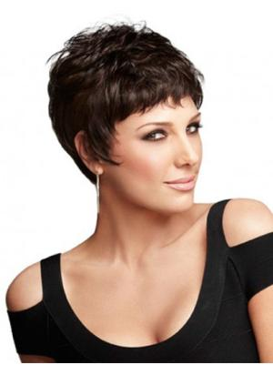 Capless 4 Inches Best Wavy Very Short Cropped Wigs