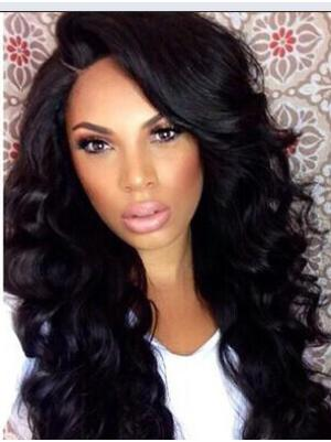 15 Inches Long Curly Synthetic Soft Black Wigs