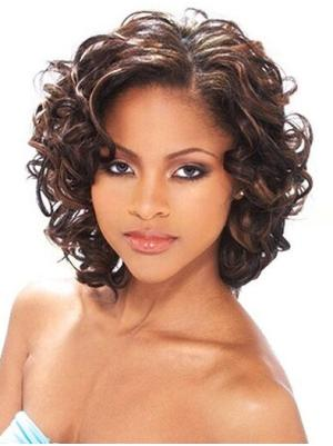 Curly Capless Auburn Without Bangs No-fuss Wigs