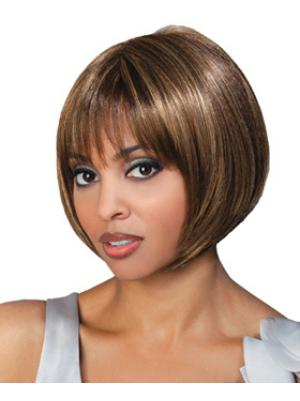 Stylish 8 Inches Straight Capless Brown Bob Wigs For Sale