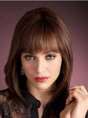 Straight Auburn 12 Inches With Bangs Trendy Wigs