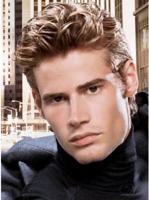 Lace Front Remy Human Hair Straight Short Boycuts 4 Inches Men Wigs